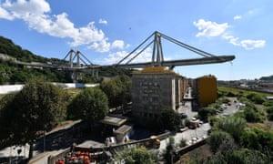 The collapsed Morandi bridge
