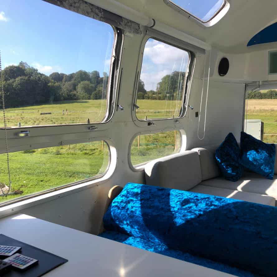 View from one of the Airstreams in a field in Somerset, UK.