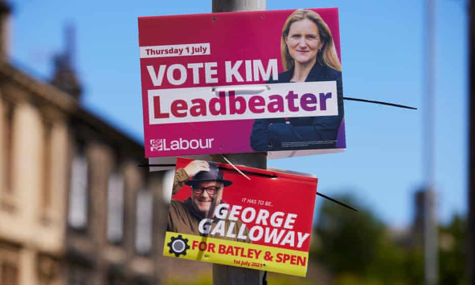 Campaign posters for the Batley and Spen byelection in Heckmondwike, June 2021