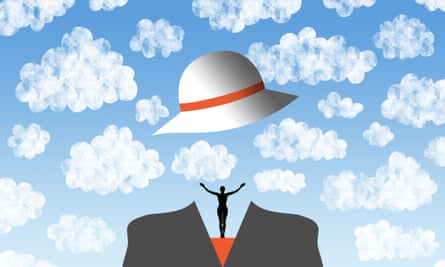 Illustration of hat and figure in clouds