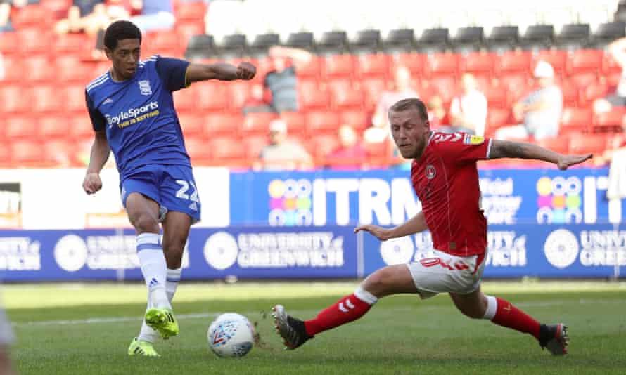 Jude Bellingham scores Birmingham's opening goal against Charlton.