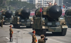 Unidentified rockets at a military parade marking the 105th anniversary of the birth of late North Korean leader Kim Il-Sung in Pyongyang on 15 April 2017.