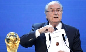 Sepp Blatter stands announces Russia will host the World Cup