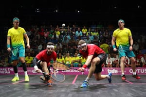 England's Adrian Waller and Daryl Selby during their men's squash doubles gold medal match defeat to David Palmer and Zac Alexander of Australia.