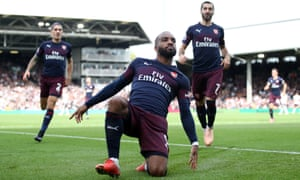 Alexandre Lacazette celebrates scoring the second of his two goals in Arsenal's 5-1 rout of Fulham but Unai Emery's message to his striker is: 'Every day, don't stop.'