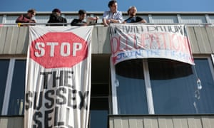 Sussex students protesting the 'privatisation' of university services in 2013.