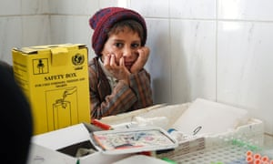 A Yemeni child at a medical centre on the outskirts of the capital Sana'a.