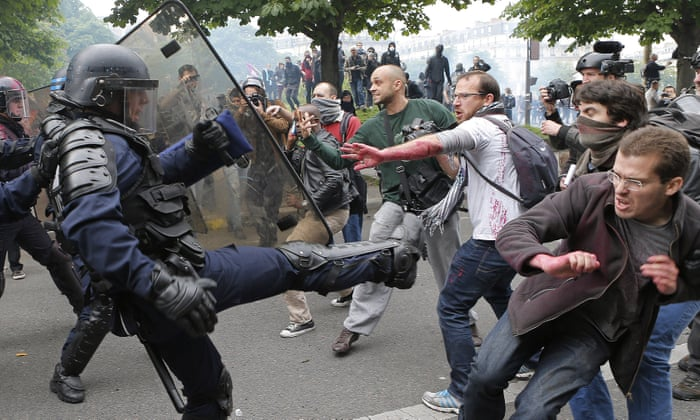 French police watchdog looks into violence at labour protests | World news  | The Guardian