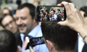 The leader of the League party, Matteo Salvini, talks to journalists after a meeting with his counterpart in the Five Star Movement, Luigi Di Maio, in Milan.