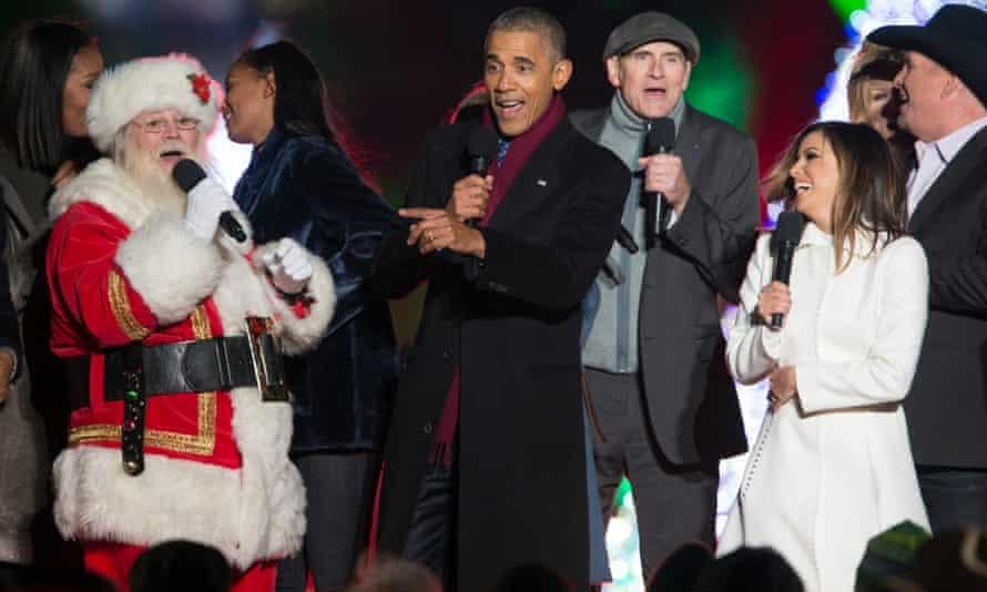 Obama at National Christmas Tree Lighting with Garth Brooks, James Taylor, and  Eva Longoria