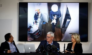 Former consul of Ecuador to London Fidel Narváez, WikiLeaks editor-in-chief Kristinn Hrafnsson and barrister Jennifer Robinson at a news conference where surveillance video of Julian Assange is played.