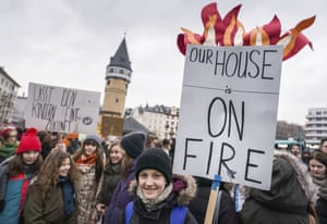 Students protest for a climate-friendly policy in Frankfurt, Germany, on 1 February.