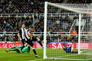 Matt Ritchie of Newcastle United clears off the line.