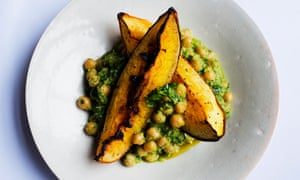baked pumpkin and spiced chickpeas.