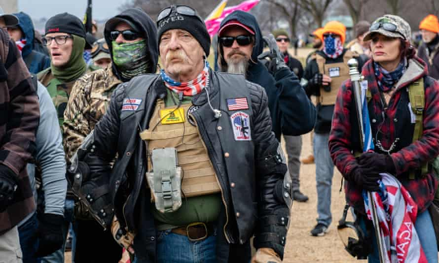 Trump supporters march from the Washington Monument to the Capitol during the Stop the Steal rally.
