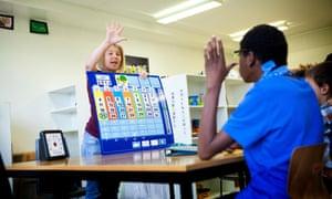 teacher and pupil receiving support