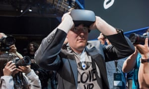 "Palmer Luckey, co-founder and creator of the Oculus Rift of Oculus VR. Inc., demonstrates the new Oculus Rift headset during the ""Step Into The Rift"" event in San Francisco, California, U.S., on Thursday, June 11, 2015,"