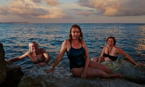 Keith Cummings, Susanne Master and Amanda Cook at Hengitsbury Head, Dorset.