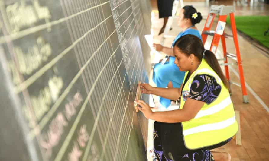 Votes being tallied during the general election in the capital city of Apia