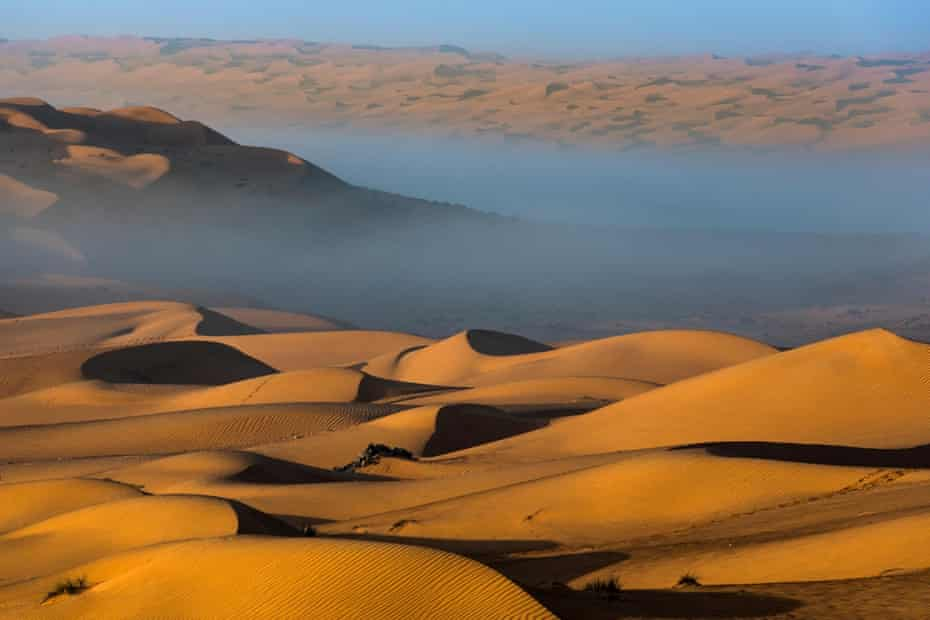 The beautiful dunes of the Wahiba Sands at sunset