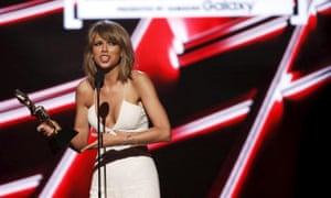 Taylor Swift accepts the award for Billboard Chart Achievement during the 2015 awards in Las Vegas.
