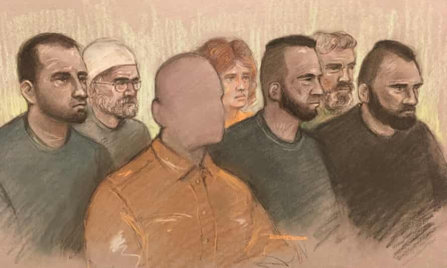 An artist's sketch of the man, who cannot be named, and his co-defendants at Worcester crown court.