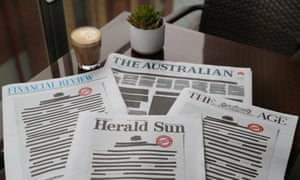 The front pages of Australian daily newspapers on Monday replicated a heavily redacted government document as part of a united campaign to challenge laws that effectively criminalise journalism and whistleblowing.