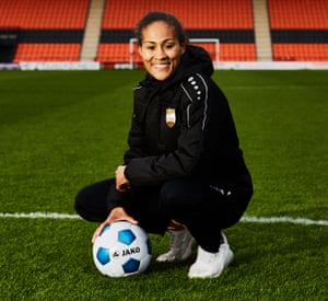 'I pretended to be a boy for my first team. It was just easier': Rachel Yankey photographed in London at the Hive stadium.