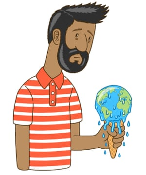 Illustration of a glum looking man holding an ice cream, in which the ice cream is the globe, melting