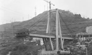The Morandi bridge under construction in 1965.