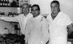 Ivo Pitanguy, centre, in his clinic in Rio de Janeiro, 1992. He said that cosmetic surgeons were 'artists of the living form'.