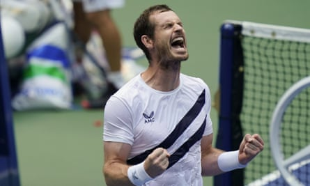 Andy Murray reacts after defeating Yoshihito Nishiokain their first round match of the US Open.