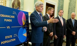 Senator Bill Cassidy attempts to explain the complex formula by which Affordable Care Act funding would be diverted to states as block grants under the Republican healthcare proposal.
