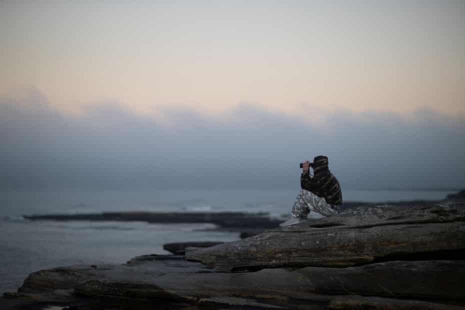 Veteran whale watching volunteer Wayne Reynolds scans the ocean.
