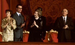 Margaret Thatcher at the ballet with Russia's president Mikhail Gorbachev and his wife, Raisa, 1987