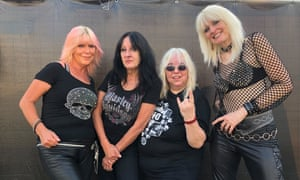 Still inspirational … Girlschool in 2019 (l-r) Tracey Lamb, McAuliffe, Dufort and Jackie Chambers