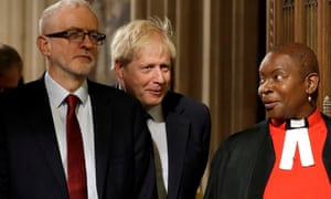 Rose Hudson-Wilkin with Jeremy Corbyn and Boris Johnson in parliament in October