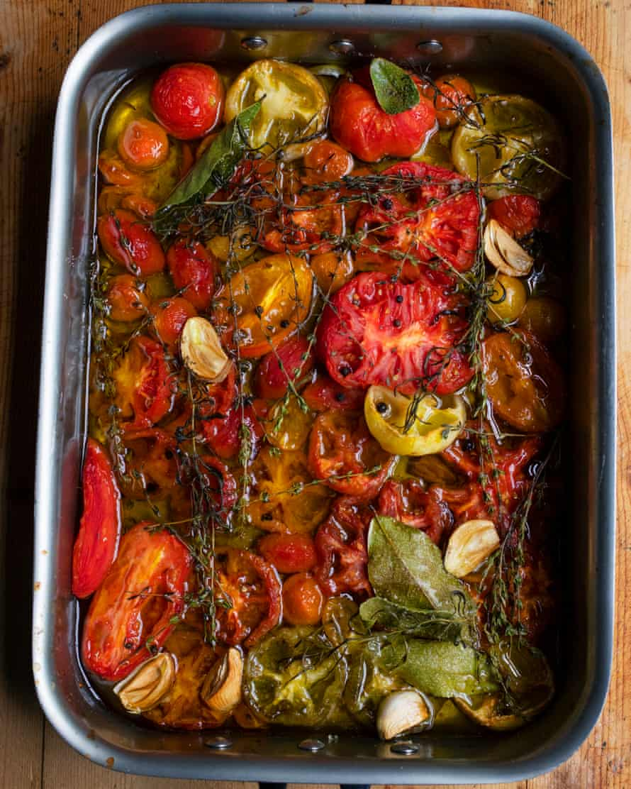 'Slice the cherry tomatoes in half, but don't skin them': tomato confit.