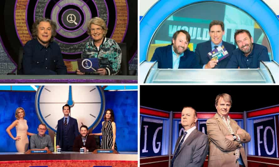 Clockwise from top left: QI, Would I Lie to You?, Have I Got News for You and 8 out of 10 Cats Does Countdown.