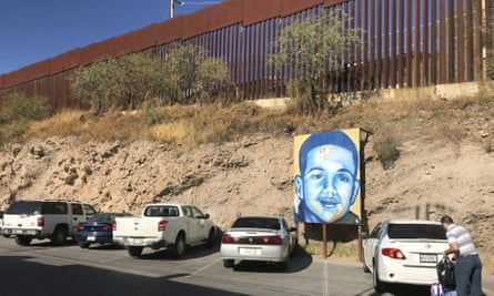 A portrait of José Antonio Elena Rodríguez is displayed on the Nogales street where he was killed.