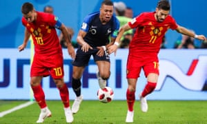 France's Kylian Mbappé causes havoc in the Belgium defence during his side's World Cup semi-final win in St Petersburg.