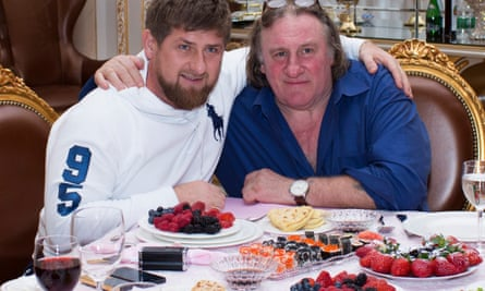 Gérard Depardieu with Ramzan Kadyrov at the presidential residence in Grozny in 2013.