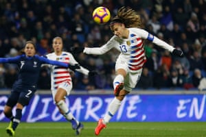 USA's Alex Morgan heads the ball during the match against France at Stade Océane.