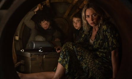 Noah Jupe, Millicent Simmonds and Emily Blunt in A Quiet Place Part II.