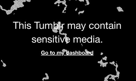 A warning on Tumblr about sensitive content