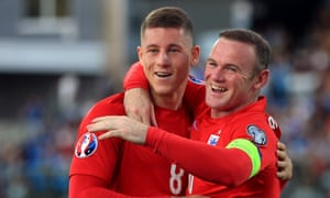Ross Barkley celebrates scoring against San Marino with his England team-mate Wayne Rooney