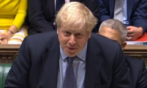 boris johnson smiles in the house of commons
