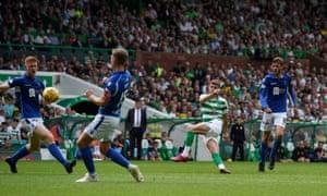 Ryan Christie scores Celtic's second goal against St Johnstone.