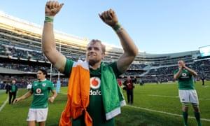 Ireland's Jamie Heaslip celebrates the historic win over the All Blacks on 5 November at Chicago's Solider Field.