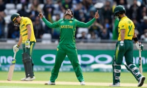 Hassan Ali of Pakistan celebrates after dismissing JP Duminy, right, for eight during their 19-run win over South Africa in their Champions Trophy match at Edgbaston.
